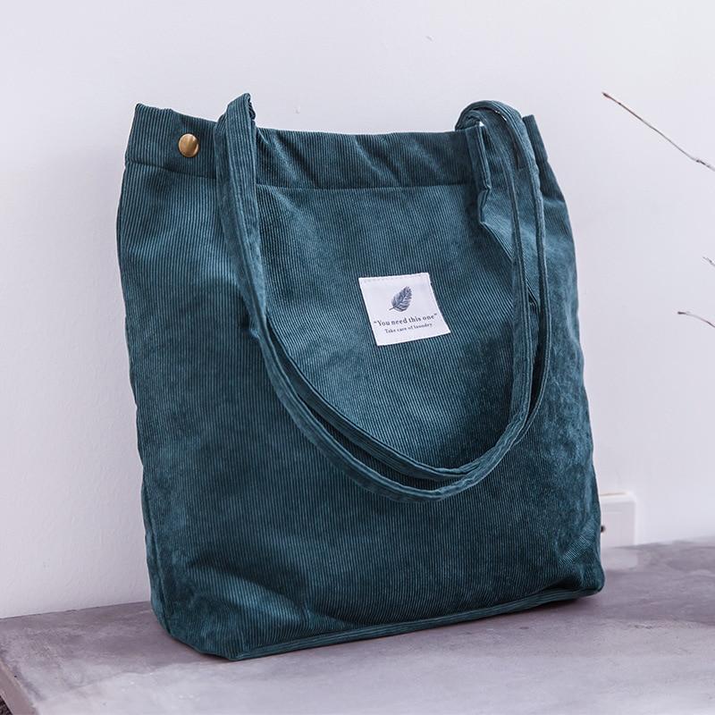 Moteriškas velvetinis krepšys moteriškos drobės audinio pečių - Rankinės - Nuotrauka 3