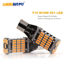 ANMINGPU 2x Signal Lamps W16W LED Bulbs 4014SMD T15 Led Canbus 921 912 Lamp For Car Reverse Lamps Backup Parking Light Bulbs 12V nlpearl 2x signal lamp 12v t15 led canbus bulbs super bright 24smd 3030 chips t15 w16w led auto backup lamp reverse lights white