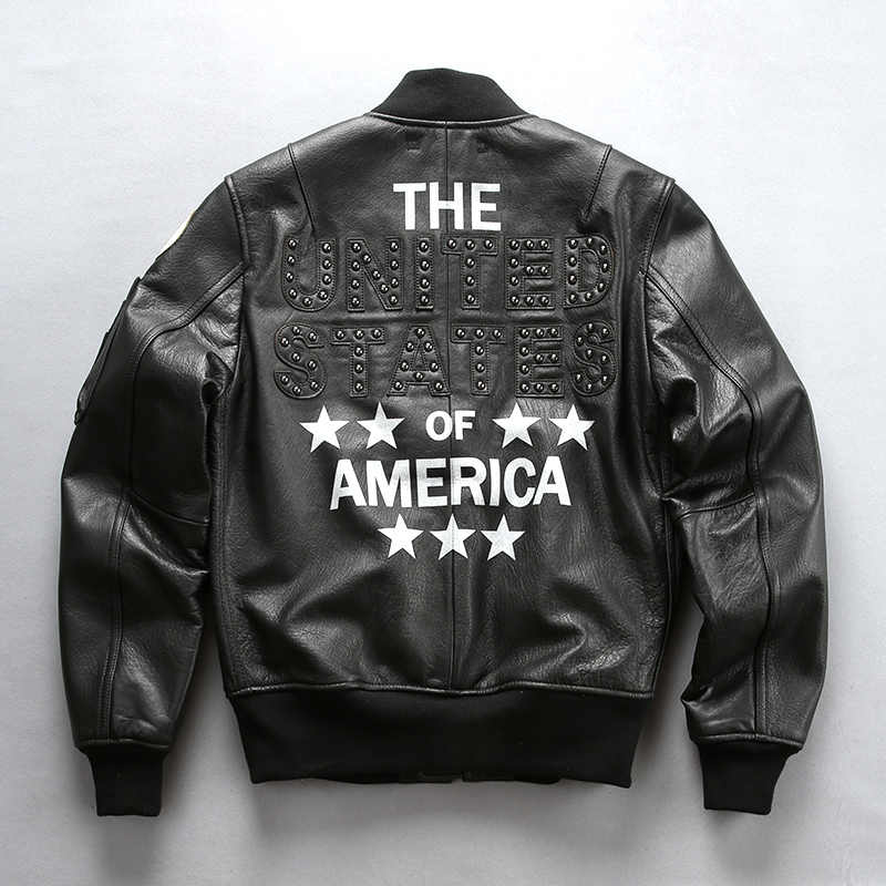 Men's fashion flight pilot rivet genuine American baseball coat for men cow leather aviator jacket