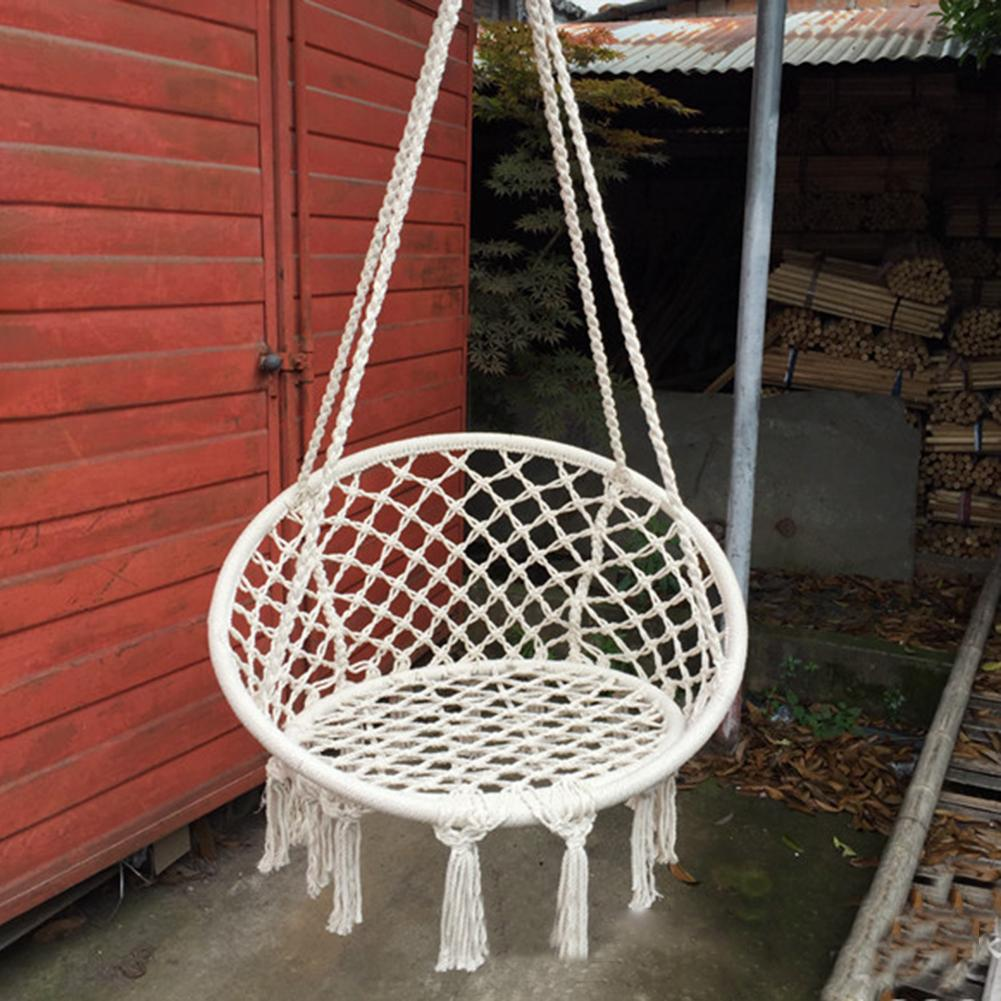 Outdoor Indoor Handmade Knitted Round Hanging Hammock Chair Nordic Style Dormitory Bedroom Baby Hanging Chair Children
