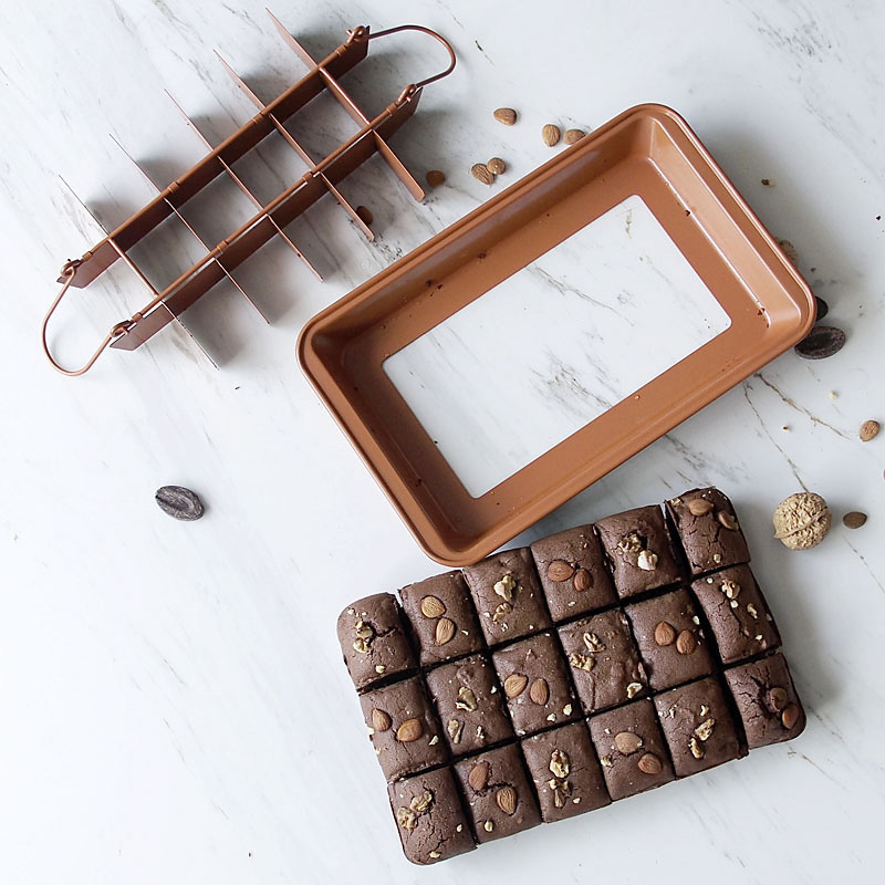 1Pcs <font><b>18</b></font> Cavity Professional Bakeware Baking Tools Easy Cleaning Square Lattice Non-Stick Chocolate Cake Mold Brownie Baking Pan image
