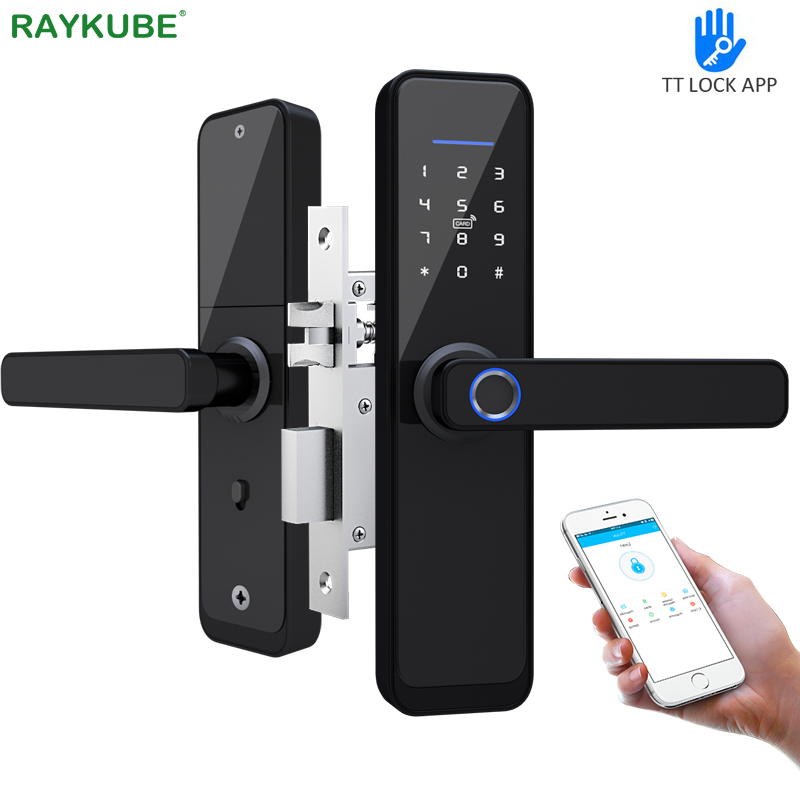 RAYKUBE Fingerprint Door Lock WiFi Bluetooth TT Lock APP Electronic Lock Digital 13.56mhz Card Tags Hotel Lock Dual Latch X2