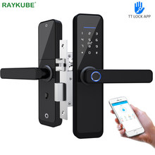 Raykube impressão digital fechadura da porta wifi bluetooth tt bloqueio aplicativo eletrônico bloqueio digital 13.56mhz cartão tag hotel trava dupla x2