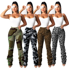 Sexy Leopard Print Women Jeans Fashion Camouflage Long Pants Ruched Ripped High Waisted Jeans Skinny Denim Outfit Trousers fashion high waisted beading ripped jeans for women