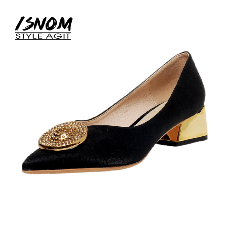 ISNOM New Women Shoes Elegant Ladies Pumps Metal Decor Chunky Heels Shoes Woman Pointed Toe Female Heels Pumps Shoes
