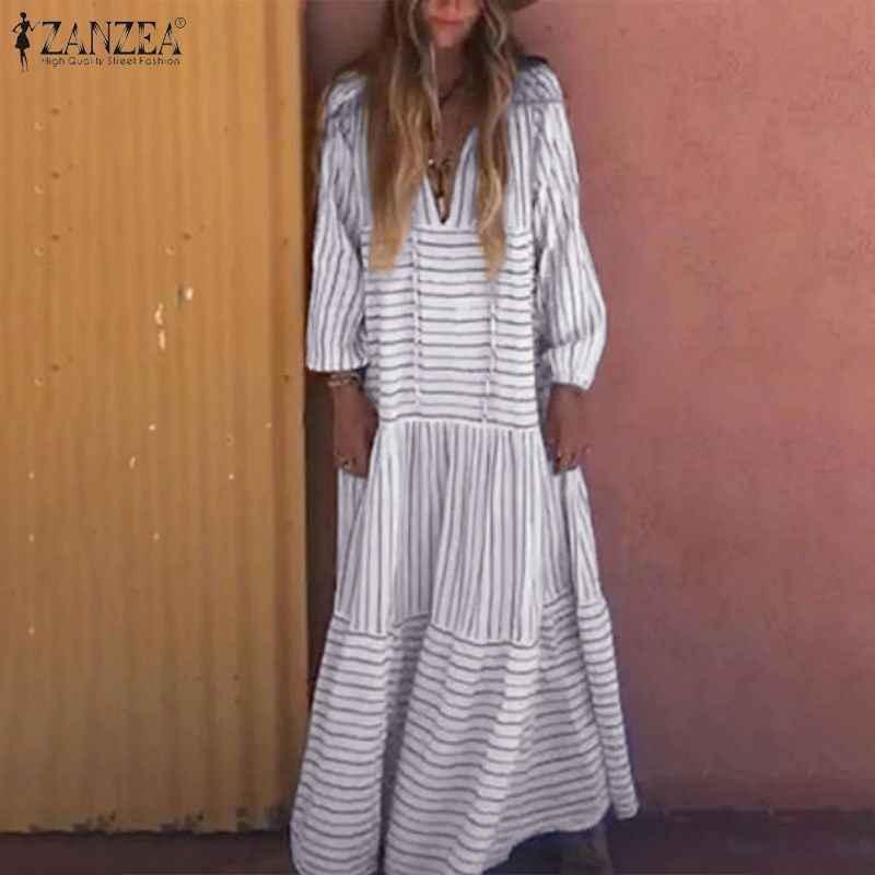Frauen Lange Maxi Kleid 2019 VZANZEA Weibliche Gedruckt Streifen Vestidos Damen Casual Langarm Kleider Party Sommerkleid Kaftan Robe 7