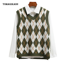2020 Preppy Style Argyle Hit Color Women Knitted Vests Korean V Neck Sleeveless All Matching Pullovers Sweater and Knitwear