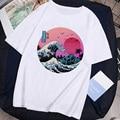 Футболка унисекс в стиле Харадзюку, модная тенниска с принтом морской волны, повседневная майка оверсайз, уличная одежда с графическим прин...