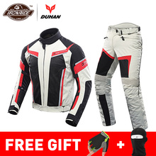 DUHAN Summer Motorcycle Jacket Man Riding Jacket + Motorcycle Pants Suit Breathable Mesh Jacket Moto Pants Suit 9 Style