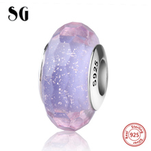 SG sparkling Murano glass beads silver 925 purple color charms suitable for authentic pandora bracelets diy jewelry making gift
