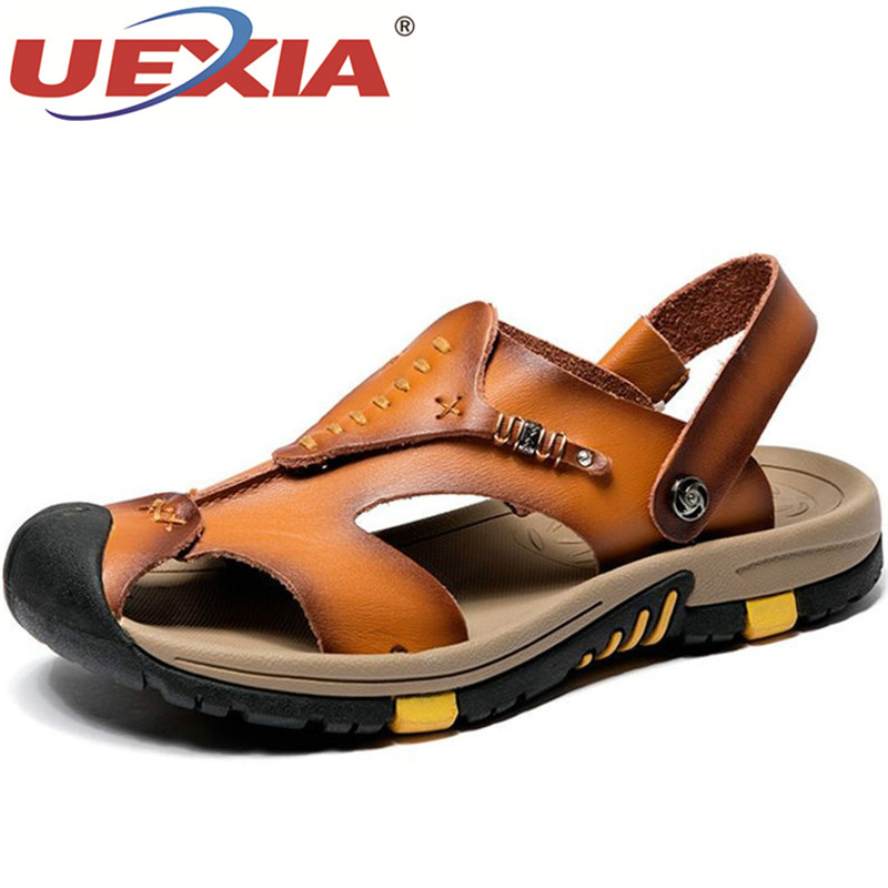 UEXIA Summer Sandals Men Shoes Leather Classic Roman Sandals 2019 Slipper Outdoor Sneakers Beach Flip Flops Men Water Trekking