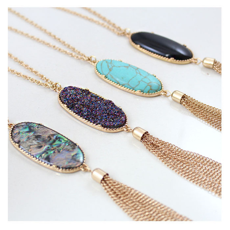SEDmart Colorful Natural Abalone Shell Tassel Necklace Gold Color Long Chain Bohemia Pendant Necklaces For Women Fashion Girls