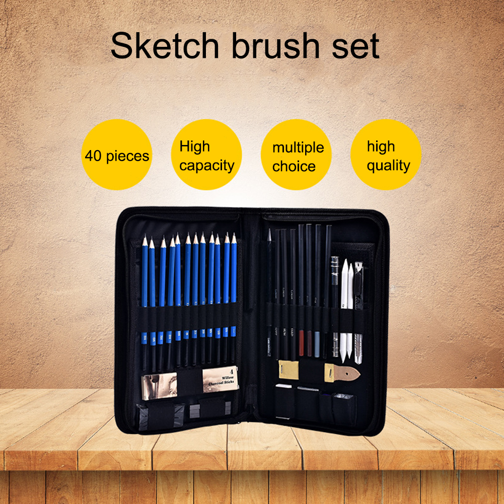 40pcs Professional Sketching Drawing Pencils Kit Carry Bag Art Painting Tool Set Student Black for Drawing Sketching and Writing
