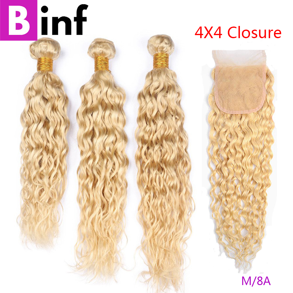 BINF 613 Blonde 3 Bundles with Closure Peruvian Water Wave Blonde Human Hair Bundles With Frontal Pre Plucked Remy Hair On Sale image