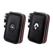 Car Brand Genuine Leather Zipper Car Key Wallet Keychain Key Case For Audi BMW OPEL KIA