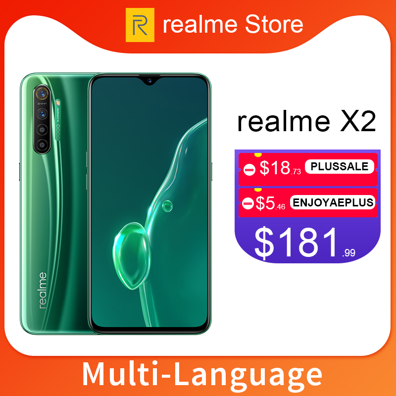 Realme X2 X 2 64GB/128GB 6.4'' Moblie Phone Snapdragon 730G 64MP Quad Camera NFC Cellphone 30W VOOC Fast Charger