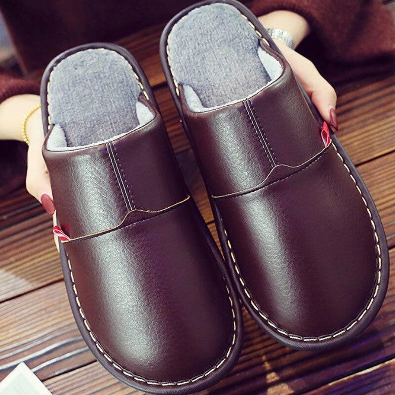 Men Winter Slippers Short Plush Shoes Big Size 35-46 Leather Slippers Male Indoor Shoes Room Slippers Fru Shoes