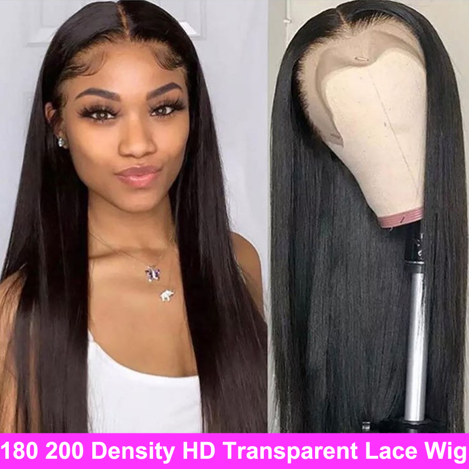 Cheap 13x4 HD Transparent Lace Frontal Wigs 13x6 Brazilian Straight Lace Front Wig 180 200 Density Lace Front Human Hair Wigs