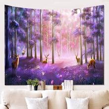 Starry Sky Deer Psychedelic Tapestry Tree Elk Night Scenery Art Decorative Wall Tapestries Hippie Boho Decor Carpet Blanket