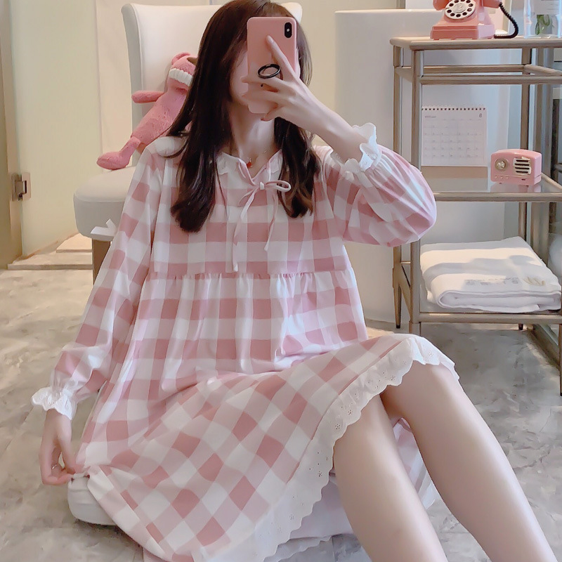 2019 Autumn New Plaid Sweet Princess Night Dress Victorian Lace Up Sleep Wear Vintage Nightgown Lace Sleep Shirt Plus Size