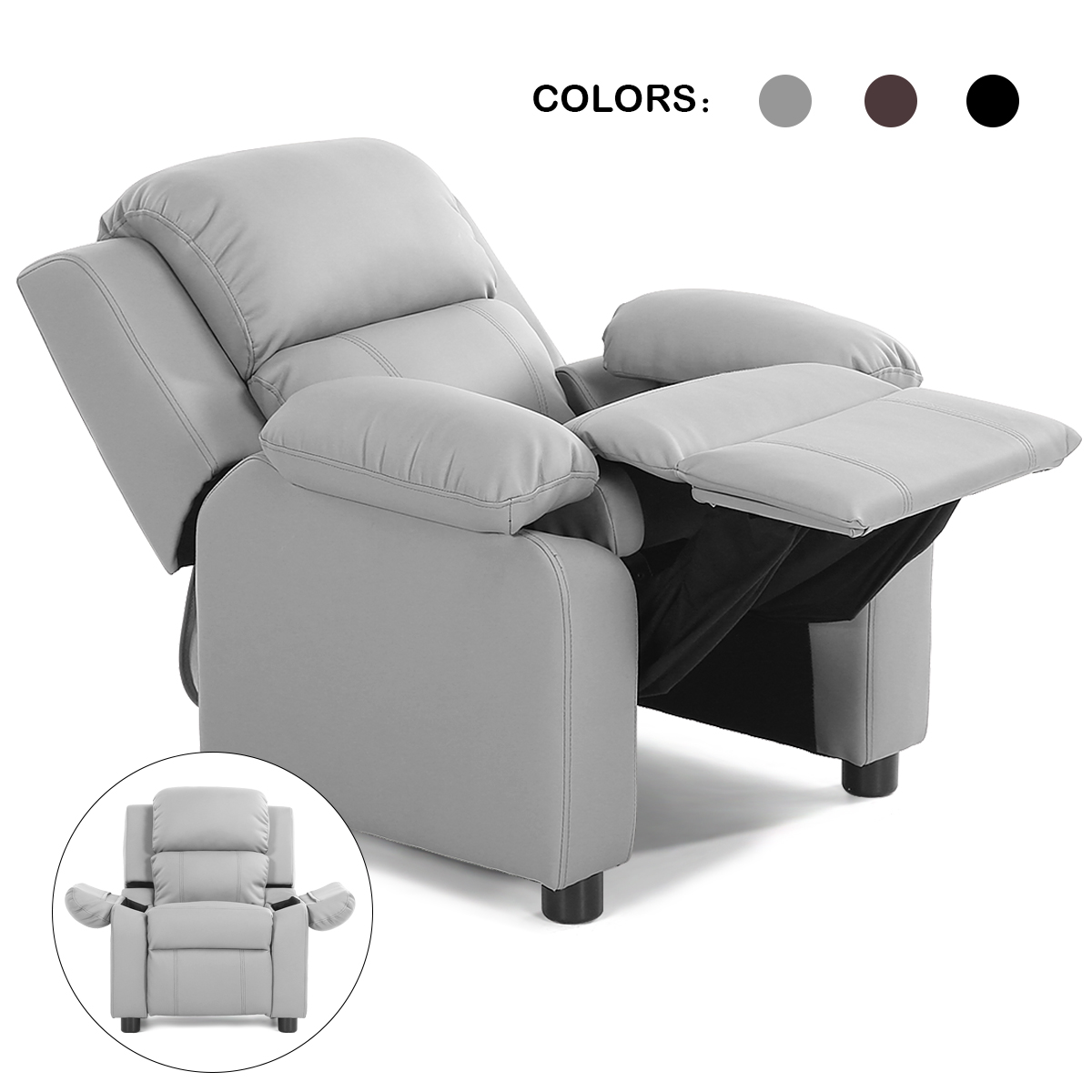 Deluxe Padded Kids Sofa Armchair Recliner Headrest Children W/ Storage Arms Gray