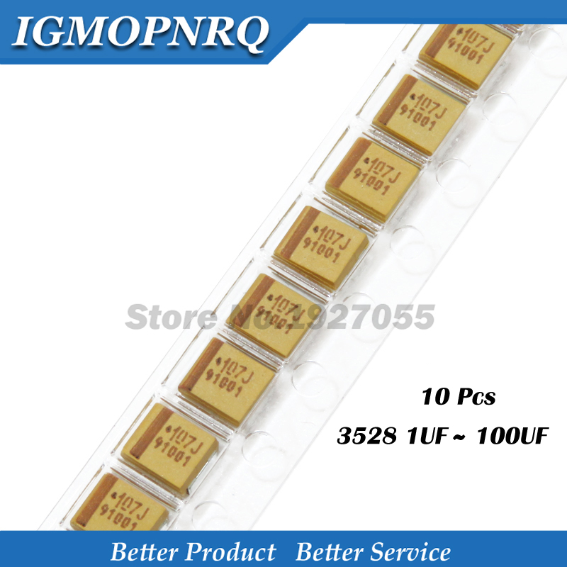 Танталовый конденсатор, 10 шт. Тип B 1 мкФ 4,7 мкФ 10 мкФ 47 мкФ 100 мкФ Ф 220 мкФ 4 в 6,3 в 16 В 20 в 25 в 35 в 50 в 3528 1210 227 476 107 475 106 105