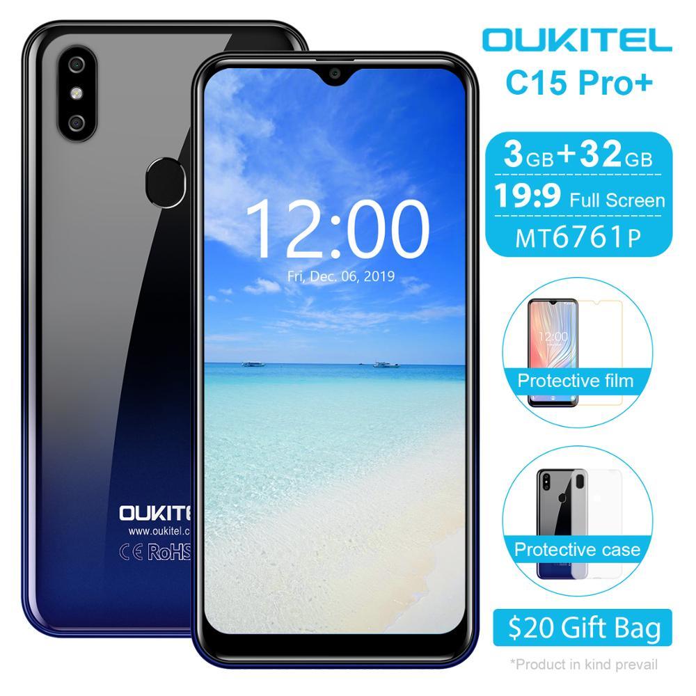 OUKITEL C15 Pro+ Smartphone 3GB RAM 32GB ROM 6.088 inch Mobile Phone 3200mAh Fingerprint Face ID 4G LTE Android 9.0 Cellphone