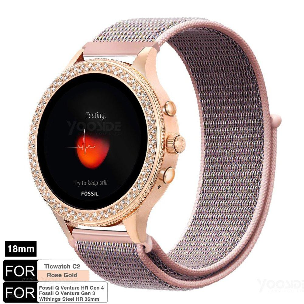 For Fossil Q Venture Gen3 Gen 4 Fossil Women Smartwatch 18mm Quick Release Nylon Loop Watch Band Strap For Ticwatch C2 RoseGold,