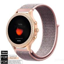 for Fossil Q Venture Gen3 Gen 4 Fossil Women Smartwatch 18mm Quick Release Nylon Loop Watch Band Strap for Ticwatch C2 RoseGold, fossil q