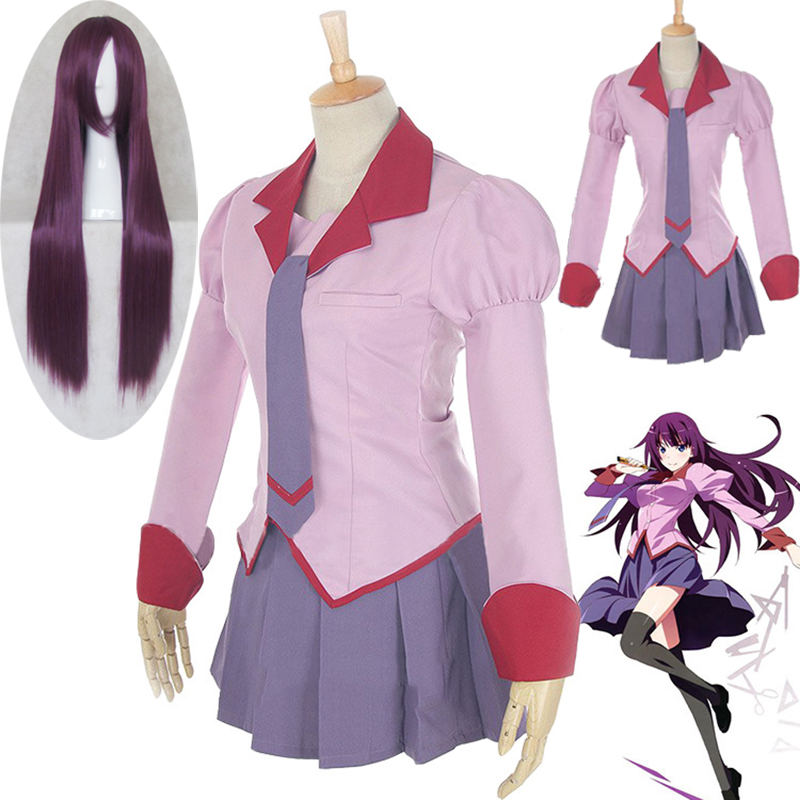 2019 Anime Monogatari Series Senjougahara Hanekawa Kanbaru School Uniform Cosplay Costume Halloween Party Costume Free Shipping
