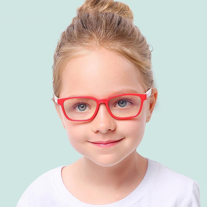 Bendable Children Optical Glasses Flexible One-piece Safe Eyeglasses Plain Mirror Silicone Anti-blue Light Goggles Eyewear Frame