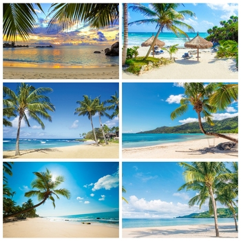 Summer Tropical Sea Beach Palms Tree Aurora Holiday Natural Scenic Photo Background Backdrop Photocall Studio
