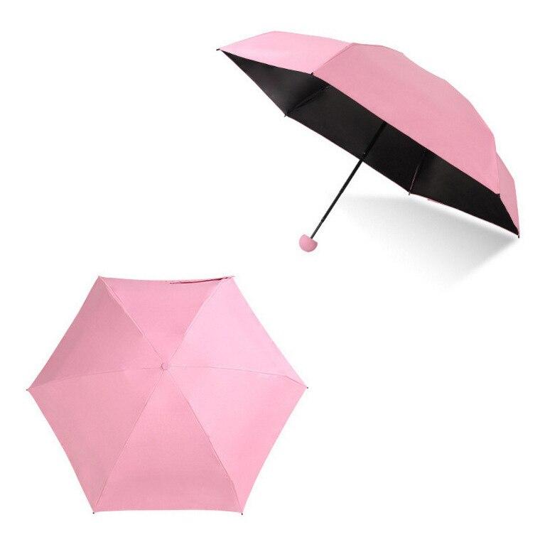 Мини-капсула зонтик пятискладной солнцезащитный анти-УФ UPF50+ Зонт parapluie складной женский Карманный Зонт для женщин - Цвет: Pink