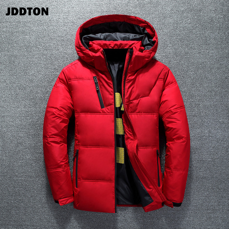 JDDTON Winter Men's Jacket Thermal Thick Coat Snow Red Casual Parka Male Warm Outwear Fashion White Duck Down Men Clothing JE314