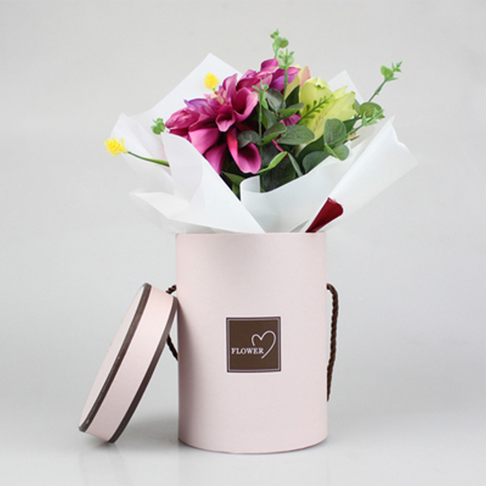Handheld Flowers Bouquet Storage Box Mini Paper Packing Case With Lid Hug Bucket Florist Gift Storage Boxes Eco-Friendly Vase