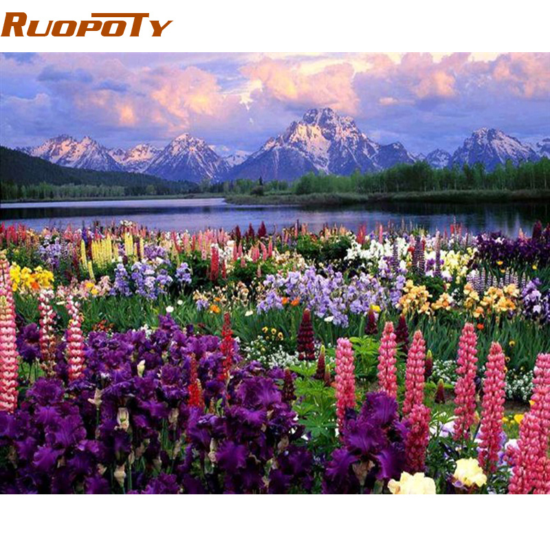 RUOPOTY Frame Romantic Flower DIY Painting By Numbers Landscape Modern Wall Art Canvas Hand Painted Paint By Number For Home Art
