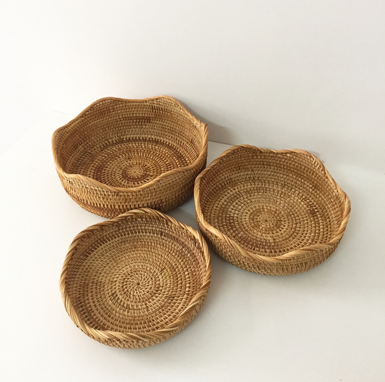 Viet Nam Rattan Fruit Basket Snacks Candy Dried Fruit Tray Steamed Bread Storage Basket Bread Basket Box