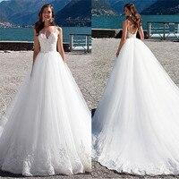 Spaghetti Strips Ball Gown Wedding Dresses Lace Appliques White Wedding Dresses Garden Women Fashion Bridal Gowns Custom