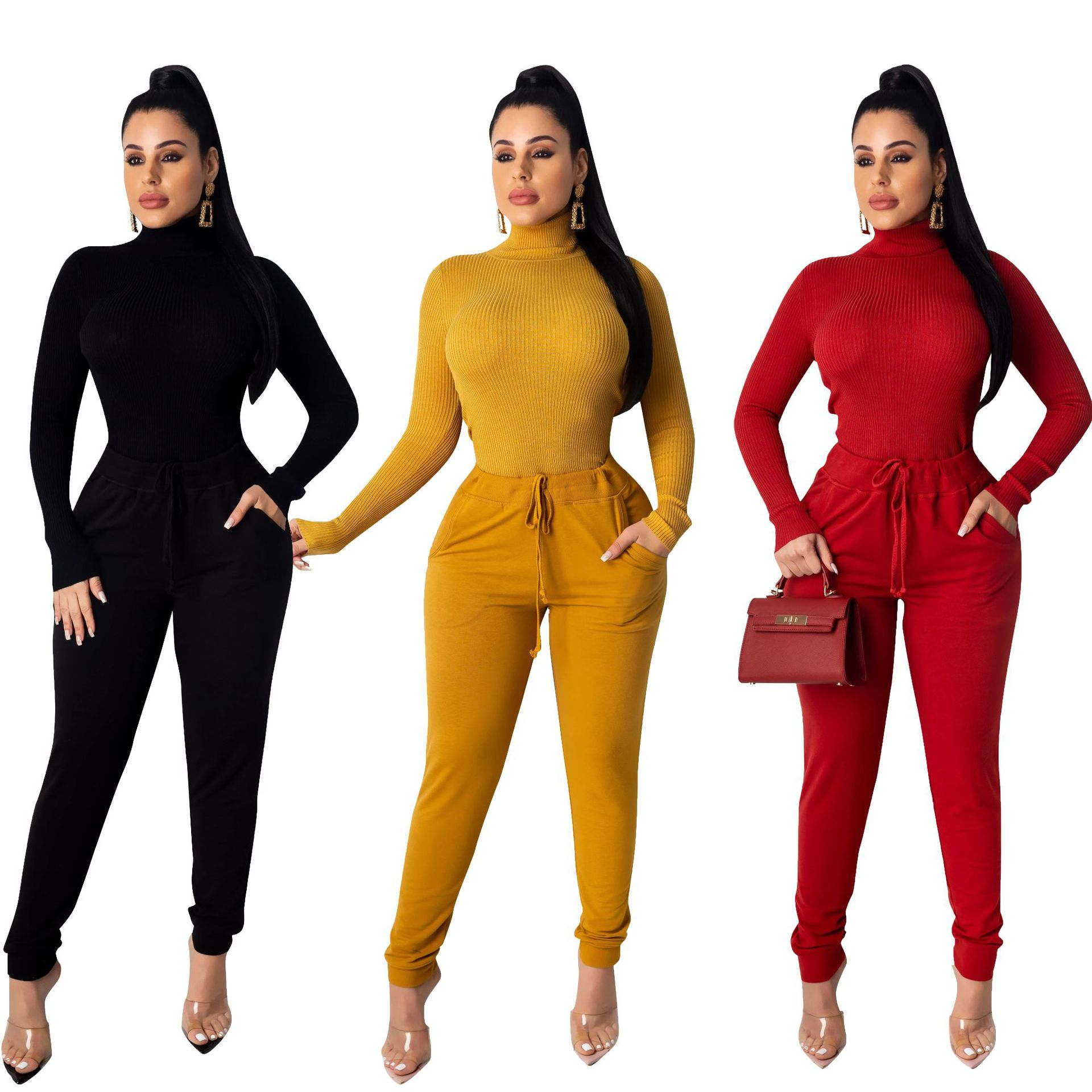2019 New Explosion Style European And American Fashion Pit Striped Turtleneck Autumn And Winter Bottoming Set