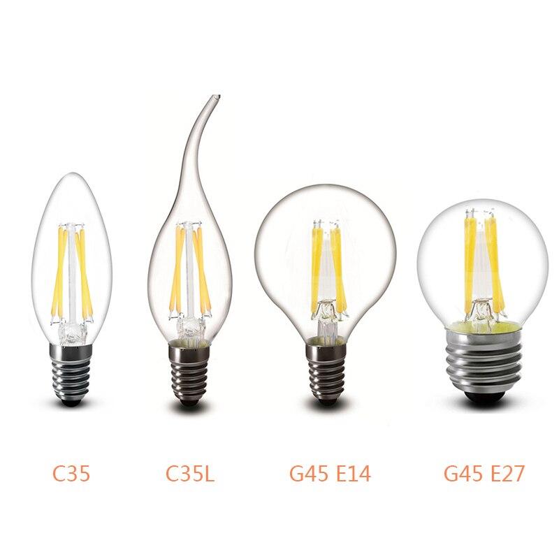 Светодиодный Эдисон лампы Ретро Античная E14 E27 C35 C35L G45 A60 ST64 AC 220V светодиодный лампы в форме свечи лампы энергосберегающие 2/4/6/8 нитей