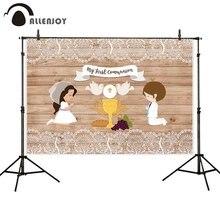 Allenjoy Fondo de primera comunión para niños cartel de fiesta de madera, decoración de encaje, fotografía, fotofono, Photozone