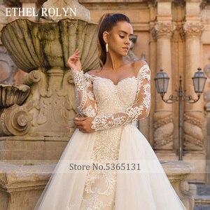 Image 3 - 取り外し可能なマーメイドウェディングドレス長袖 vestido デ · ノビア 2020 エセル rolyn セクシーな恋人の花嫁シャンパンのウェディングドレス