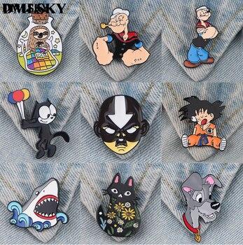 DMLSKY 1pcs Cartoon Cat Dog Metal Enamel Pins Animal series Brooch For Dresses Backpack Badge Clothes Cosplay M4107