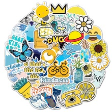 100PCS Cartoon Yellow INS Style Vsco Girl Stickers For Laptop Moto Skateboard Luggage Refrigerator Notebook Laptop Toy Sticker