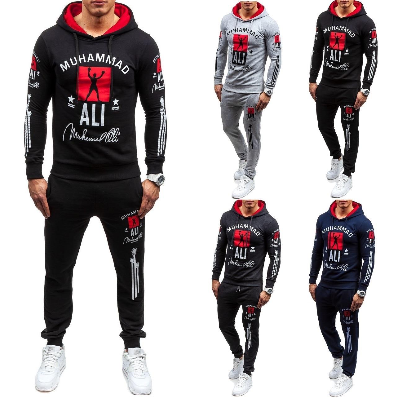 ZOGAA Men's Tracksuit Brand New Fashion 2 Parts Hooded Sweatshirt And Sport Pants Set Two Piece Set Sweatsuit Men Track Suit