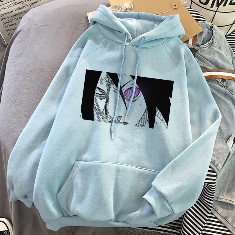 Fall Naruto Eyes Print Aesthetic Unisex Pullover Anime Hoodie Hip Hop Sweatshirt Short Sleeve Men Clothing Streetwear Hoodies
