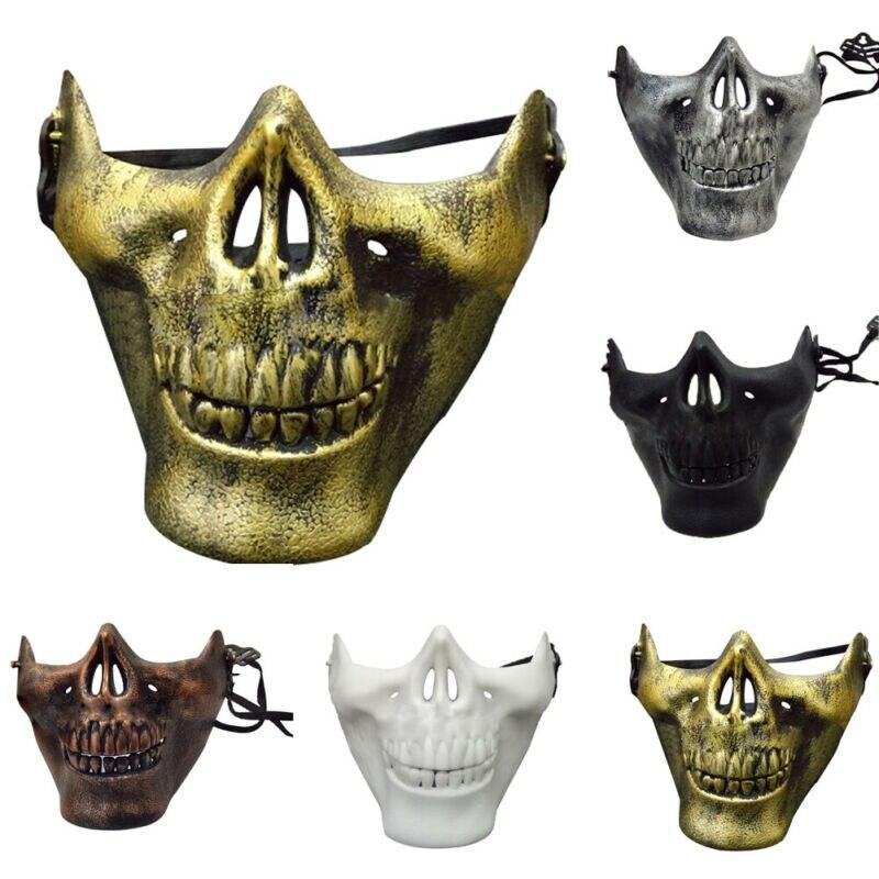 Bruni Argent Demi Visage Crâne Mâchoire Masque Halloween Squelette Protection