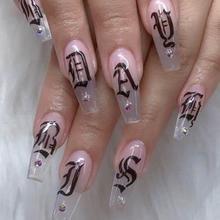 2X 4X ультра тонкие клейкие черно-белые золотые и серебряные ногти товары для рукоделия символический номер наклейки для ногтей аксессуары для ногтей