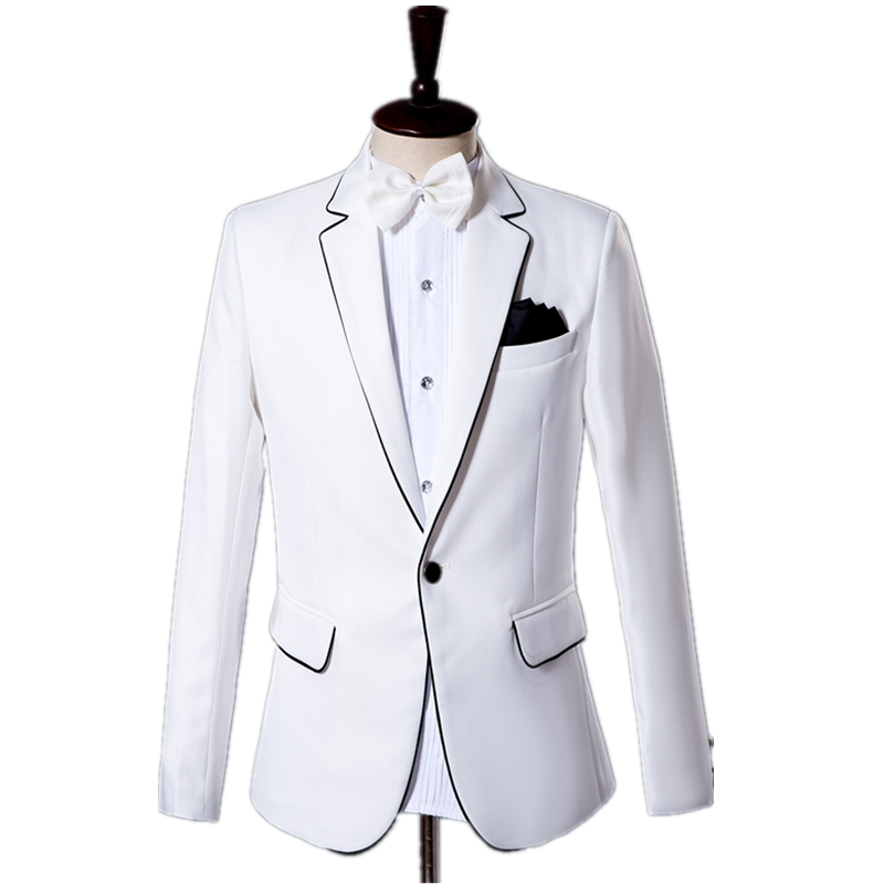 White Inlaid Black Line Regular Men's Suit Coat Party / Club Single-breasted Notch Lapel Slim Casual Suit (suit Coat+ Pants)