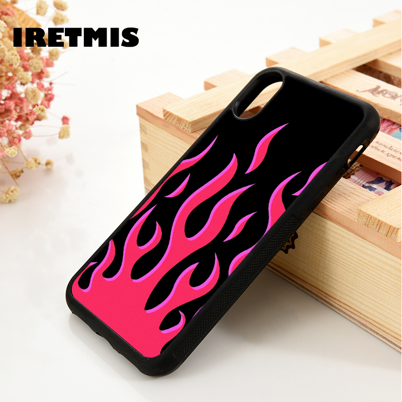 Iretmis 5 5S SE 6 <font><b>6S</b></font> Soft TPU Silicone Rubber phone <font><b>case</b></font> cover for <font><b>iPhone</b></font> 7 8 <font><b>plus</b></font> X Xs 11 Pro Max XR <font><b>Red</b></font> Flames image